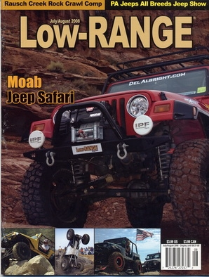 Del's Jeep on cover of Low Range Magazine in Moab