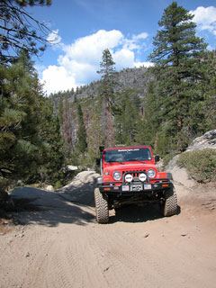 Del's Red Jeep on Trek, 2004